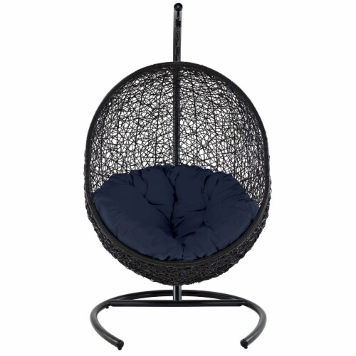 Encase Swing Outdoor Patio Lounge Chair - Navy Perspective: back
