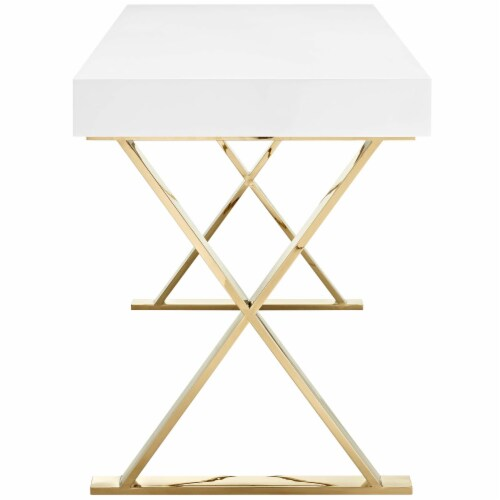 Sector Office Desk - White Gold Perspective: back