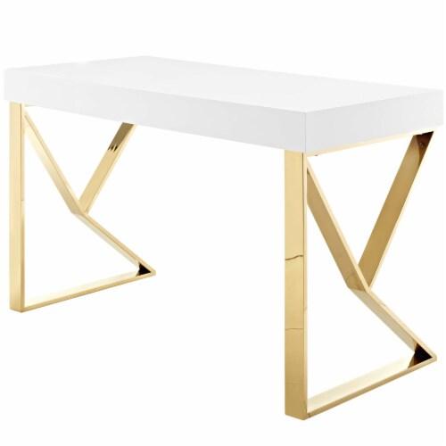 Adjacent Desk - White Gold Perspective: back