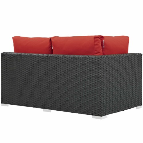 Sojourn Outdoor Patio Sunbrella Left Arm Loveseat - Canvas Red Perspective: back