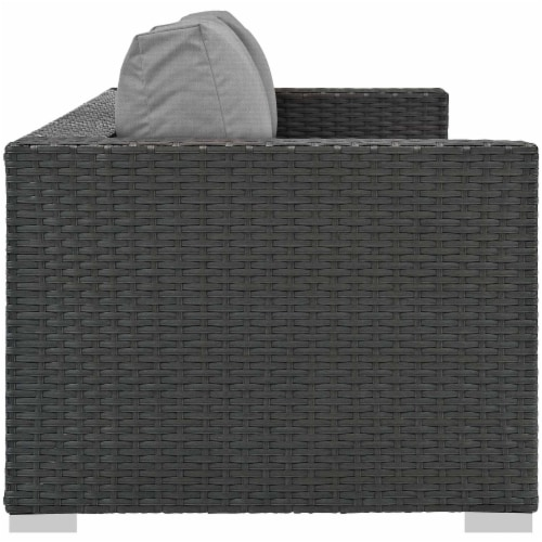 Sojourn Outdoor Patio Sunbrella Sofa - Canvas Gray Perspective: back