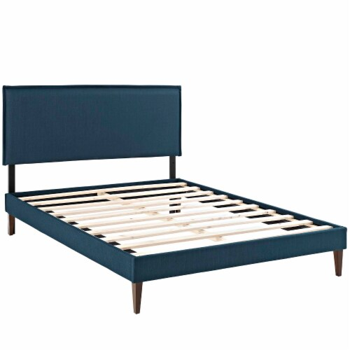 Amaris Queen Fabric Platform Bed with Squared Tapered Legs - Azure Perspective: back