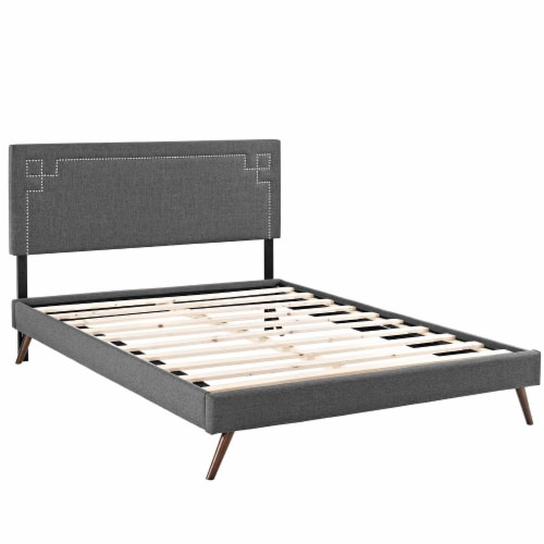 Ruthie Queen Fabric Platform Bed with Round Splayed Legs - Gray Perspective: back