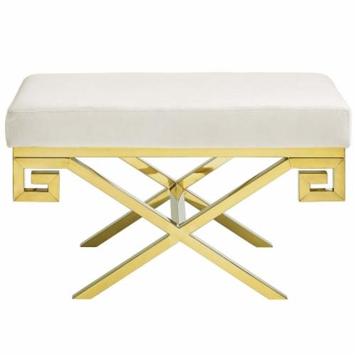 Rove Velvet Bench - Gold Ivory Perspective: back
