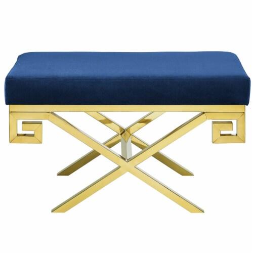 Rove Velvet Bench - Gold Navy Perspective: back