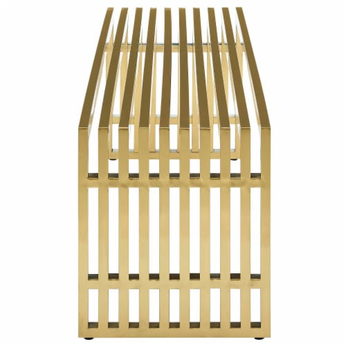 Gridiron Large Stainless Steel Bench - Gold Perspective: back