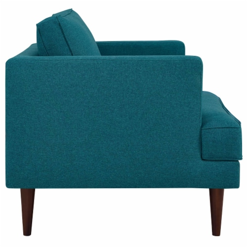 Agile Upholstered Fabric Armchair - Teal Perspective: back