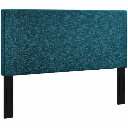 Taylor Full / Queen Upholstered Linen Fabric Headboard - Teal Perspective: back