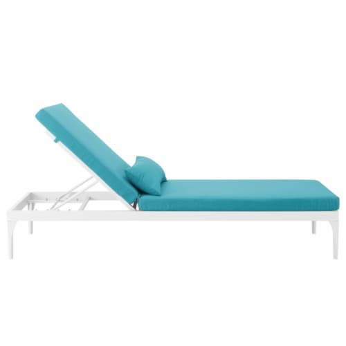 Perspective Cushion Outdoor Patio Chaise Lounge Chair - White Turquoise Perspective: back