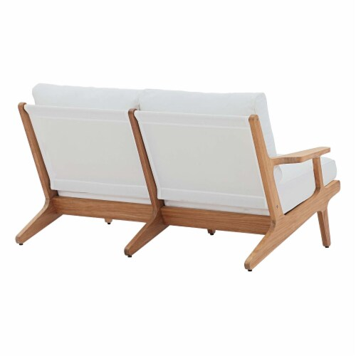 Saratoga Outdoor Patio Teak Loveseat - Natural White Perspective: back