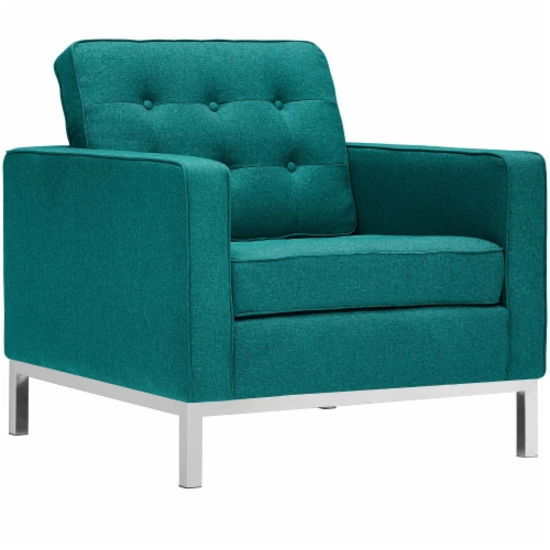 Loft 3 Piece Upholstered Fabric Sofa Loveseat and Armchair Set - Teal Perspective: back