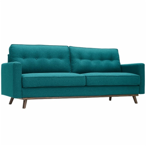 Prompt Upholstered Fabric Sofa - Teal Perspective: back