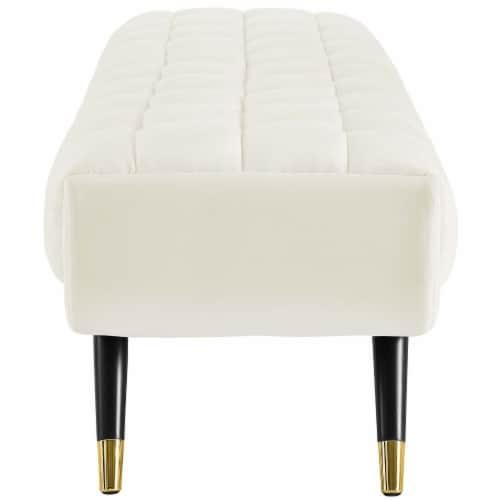 Adept Upholstered Velvet Bench - Ivory Perspective: back