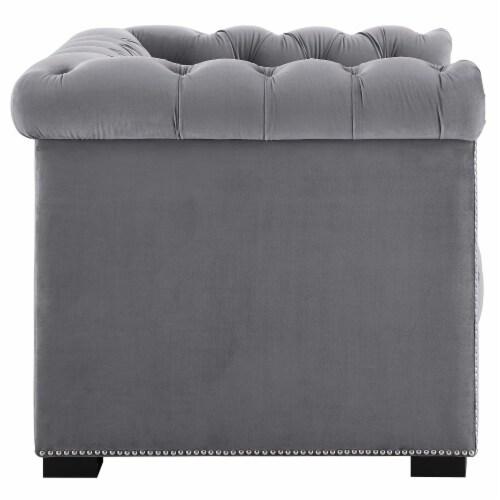Heritage Upholstered Velvet Armchair - Gray Perspective: back