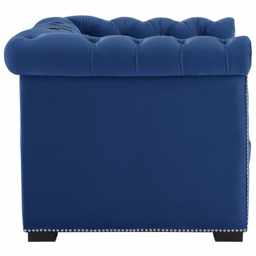 Heritage Upholstered Velvet Armchair - Midnight Blue Perspective: back