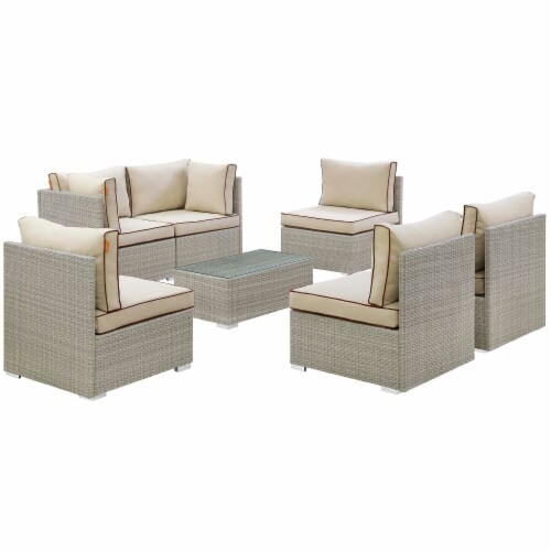 Repose 7 Piece Outdoor Patio Sectional Set - Light Gray Beige Perspective: back
