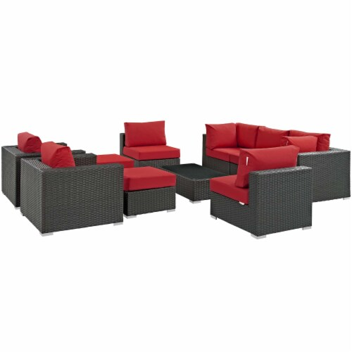 Sojourn 10 Piece Outdoor Patio Sunbrella Sectional Set - Canvas Red Perspective: back