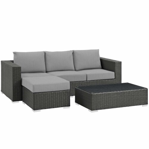 Sojourn 3 Piece Outdoor Patio Sunbrella Sectional Set - Canvas Gray Perspective: back