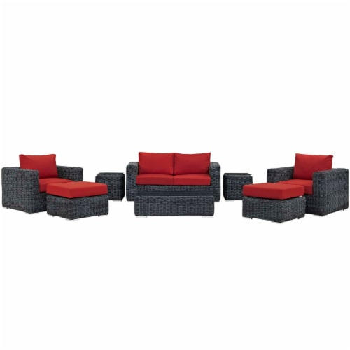 Summon 8 Piece Outdoor Patio Sunbrella Sectional Set - Canvas Red Perspective: back
