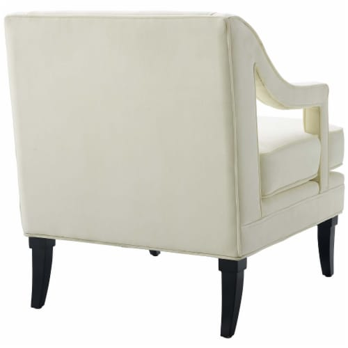 Concur Button Tufted Upholstered Velvet Armchair - Ivory Perspective: back