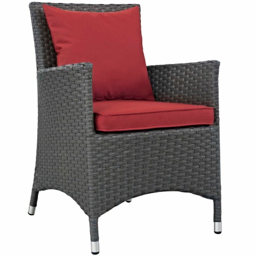 Sojourn 2 Piece Outdoor Patio Sunbrella Dining Set - Canvas Red Perspective: back