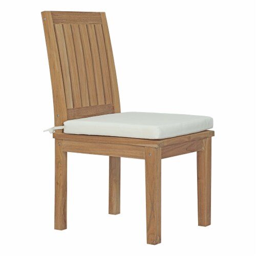 Marina 7 Piece Outdoor Patio Teak Outdoor Dining Set - Natural White Perspective: back