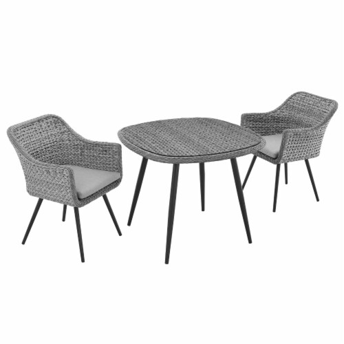 Endeavor 3 Piece Outdoor Patio Wicker Rattan Dining Set - Gray Gray Perspective: back