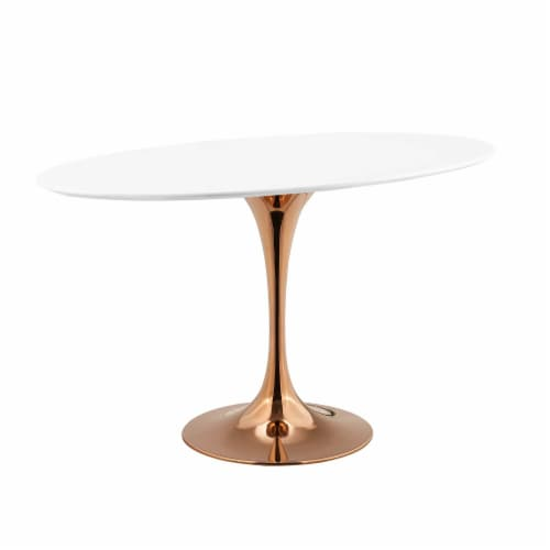 """Lippa 48"""" Oval Dining Table - Rose White Perspective: back"""
