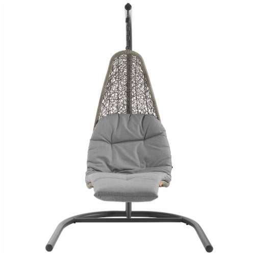 Landscape Hanging Chaise Lounge Outdoor Patio Swing Chair - Light Gray Gray Perspective: back