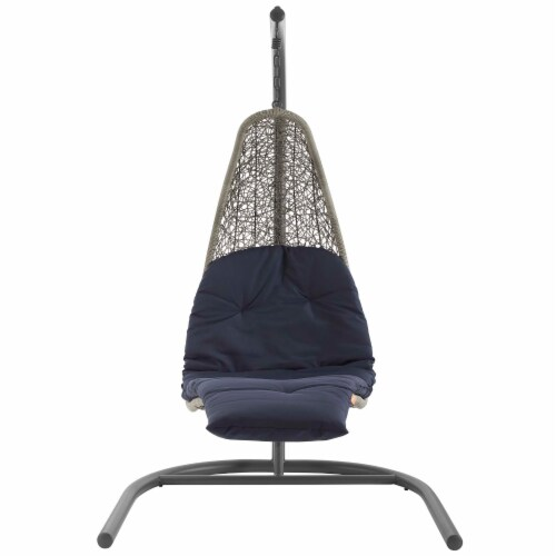 Landscape Hanging Chaise Lounge Outdoor Patio Swing Chair - Light Gray Navy Perspective: back