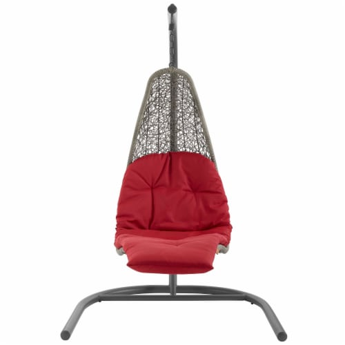 Landscape Hanging Chaise Lounge Outdoor Patio Swing Chair - Light Gray Red Perspective: back