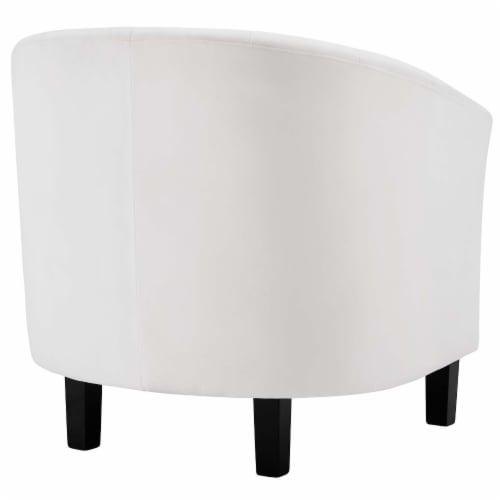 Prospect Channel Tufted Upholstered Velvet Armchair - White Perspective: back