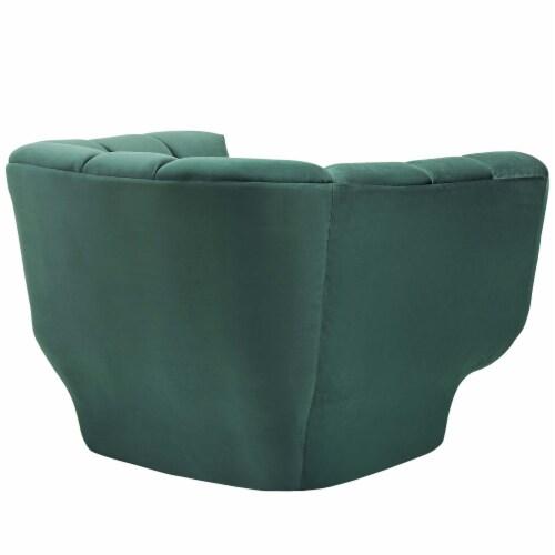 Entertain Vertical Channel Tufted Performance Velvet Armchair - Green Perspective: back