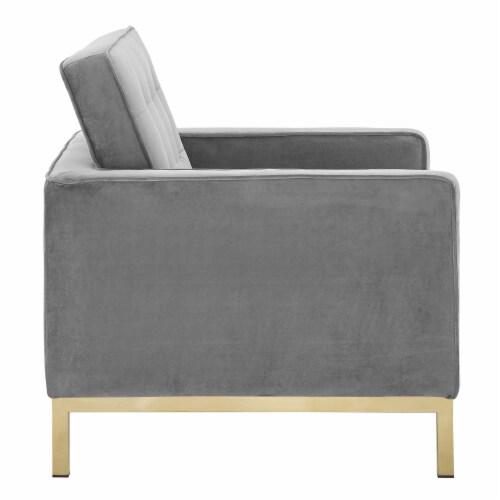 Loft Gold Stainless Steel Performance Velvet Armchair Perspective: back