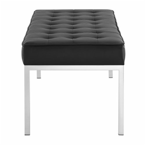 Loft Tufted Large Upholstered Faux Leather Bench Silver Black Perspective: back