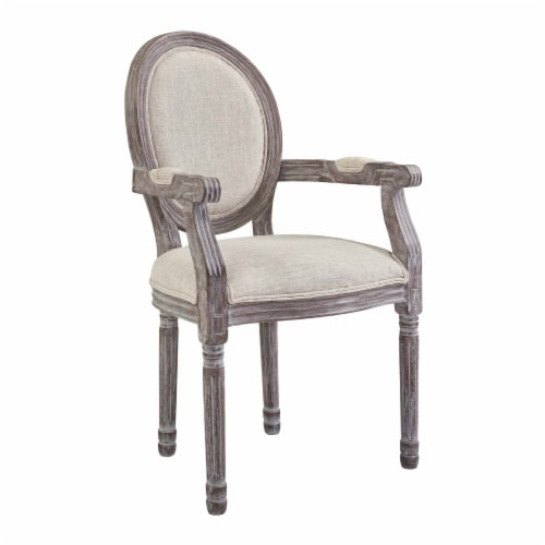 Emanate Dining Armchair Upholstered Fabric Set of 2 - Beige Perspective: back