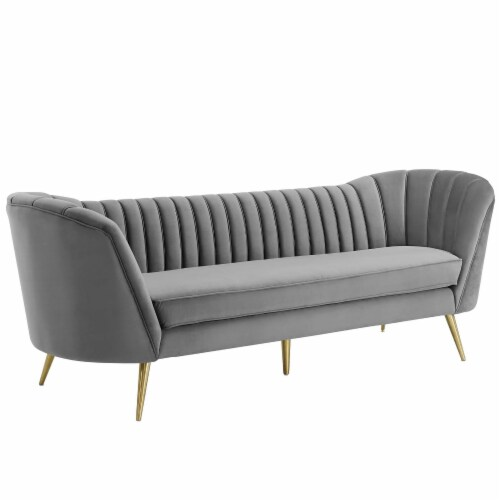 Opportunity Vertical Channel Tufted Curved Performance Velvet Sofa Perspective: back