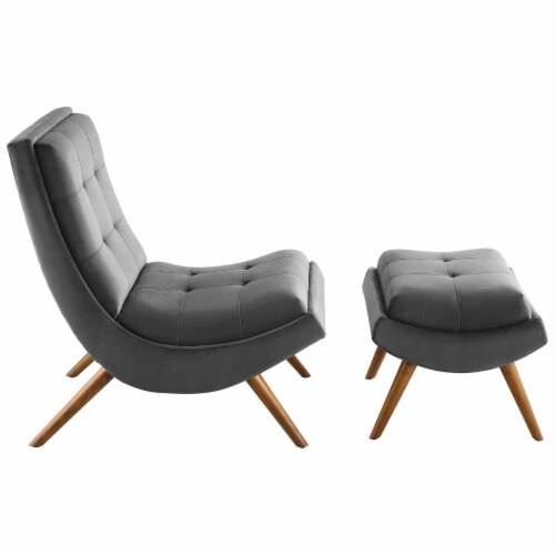 Ramp Upholstered Performance Velvet Lounge Chair and Ottoman Set Perspective: back