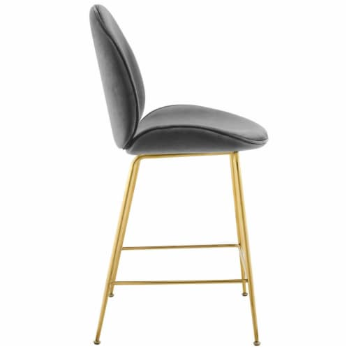 Scoop Gold Stainless Steel Leg Performance Velvet Counter Stool - Gray Perspective: back