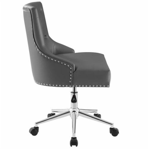 Regent Tufted Button Swivel Faux Leather Office Chair Perspective: back