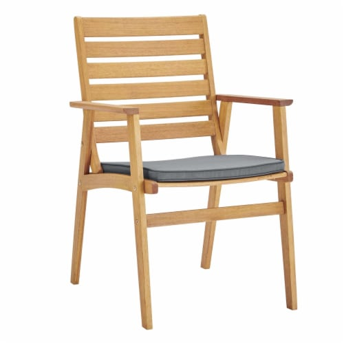 Syracuse Outdoor Patio Eucalyptus Wood Dining Chair Set of 2 Natural Gray Perspective: back