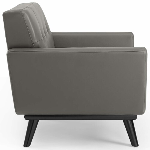 Engage Top-Grain Leather Living Room Lounge Accent Armchair Gray Perspective: back
