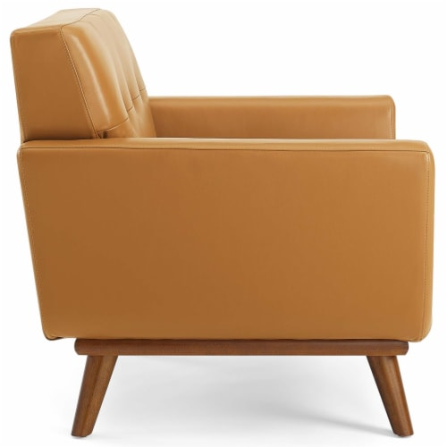 Engage Top-Grain Leather Living Room Lounge Accent Armchair Tan Perspective: back