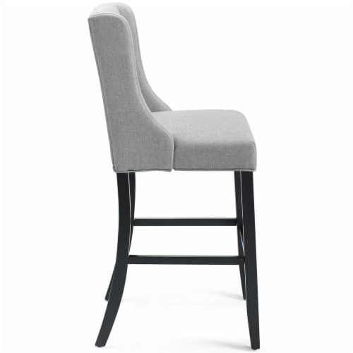 Baronet Tufted Button Upholstered Fabric Bar Stool Light Gray Perspective: back