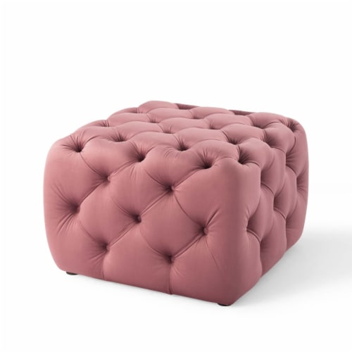 Amour Tufted Button Square Performance Velvet Ottoman Dusty Rose Perspective: back