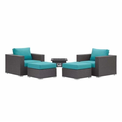 Convene 5 Piece Set Outdoor Patio with Fire Pit Perspective: back