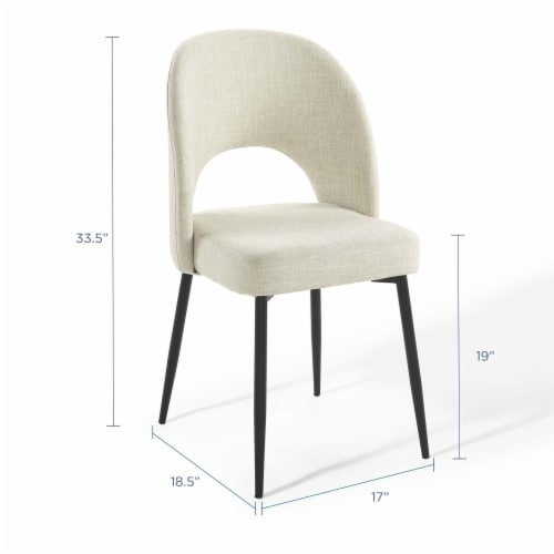 Rouse Upholstered Fabric Dining Side Chair Black Beige Perspective: back