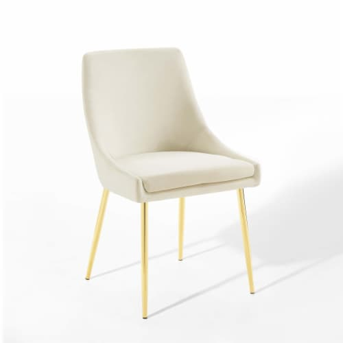 Viscount Performance Velvet Dining Chairs - Set of 2 Gold Ivory Perspective: back