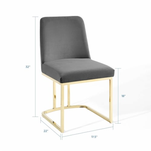 Amplify Sled Base Performance Velvet Dining Side Chair Gold Gray Perspective: back