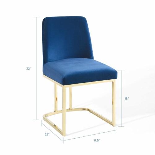Amplify Sled Base Performance Velvet Dining Side Chair Gold Navy Perspective: back